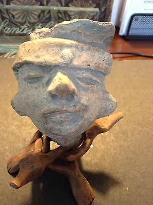 Autentic Mayan Stone Carvings Head, Classic Period 100-400 Ad