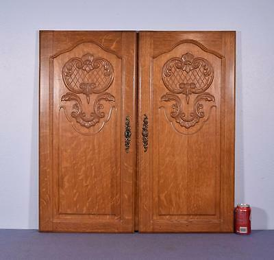 Pair of Vintage French Louis XV Carved Panels/Doors in Oak Wood