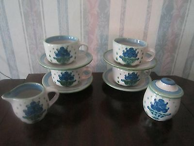 Vintage Estate Mary Hadley Signed Bouquet Sugar Creamer Cup & Saucers 11 Piece