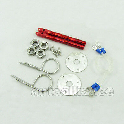 Bullet Flip-Over Style Red Muscle Car Racing Bonnet Hood Pin Cover Lock Kit