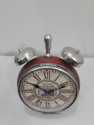 Authentic Style Table Top Desk Leather Clock  Collectible Watch Home Decorative