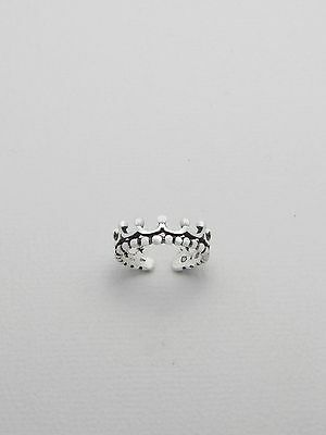 TJS 925 Sterling Silver Gorgeous Princess Crown Design Sexy Toe Ring Adjustable