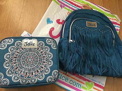 NWT Justice Girls Blue Backpack and Medallion Lunchbox Tote Bag Cute!!! Set