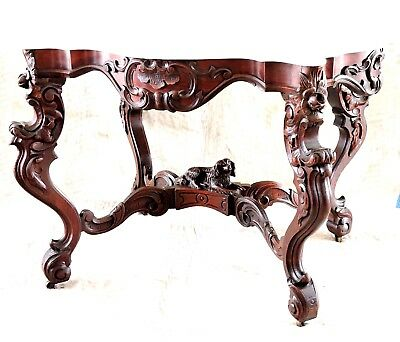 "marble top center table, walnut, Spaniel dog, M&R, Victorian, Rococo, 42"", c1860"