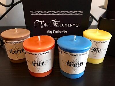 Elemental soy votives set - Wicca, pagan, witchcraft, goth