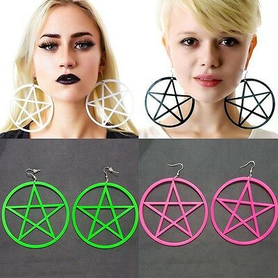 New Fashion Punk Rock Round Pentagram Star Earrings Hoop Goth Ear Hook Studs Hot
