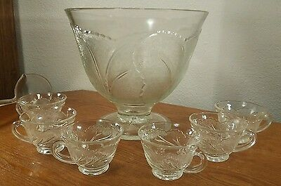 Indiana Glass Pebble Leaf/Twiggy Clear Glass Punch Bowl Set 6 Cups & Ladle