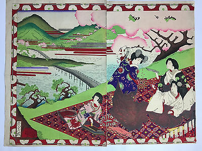 Diptych Original Art Japanese Woodblock Prints Ukiyoe Geisha
