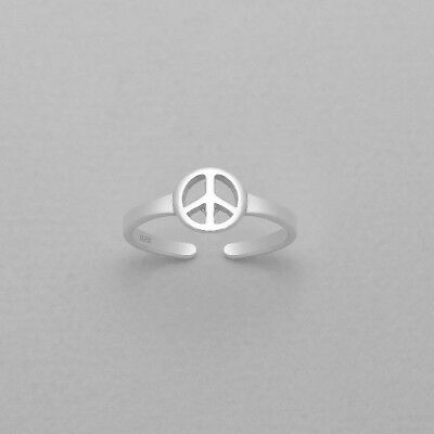 TJS 925 Sterling Silver Toe Ring Peace Sign Symbol Adjustable Body Jewellery