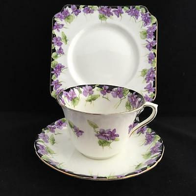 ROYAL DOULTON VIOLETS BONE CHINA  H3747 TRIO cup saucer and plate VINTAGE