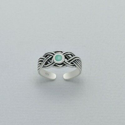 925 Sterling Silver Toe Ring Round Turquoise Shell Tribal Celtic Adjustable