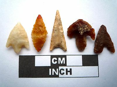 5 x High Quality Neolithic Arrowheads - 4000BC - (K007)