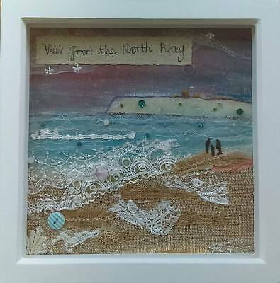 "Original Framed Mixed Media Textile Art - ""View from the North Bay"" Scarborough"