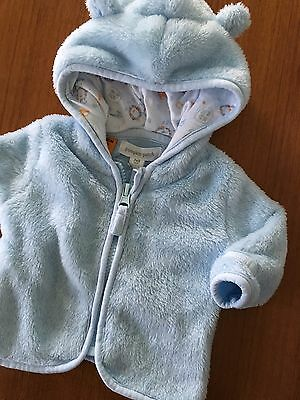 Size NB (0000) ~ PUMPKIN PATCH ~ Pale Blue Fluffy Hooded Zip Front Jacket ~ EUC!