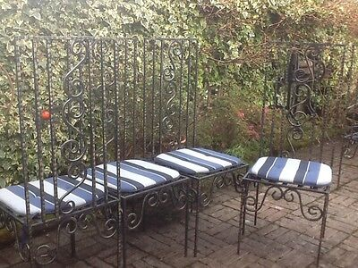 4 Quality Bespoke High Back Cast Iron Metal Garden / Indoor Dining Chairs