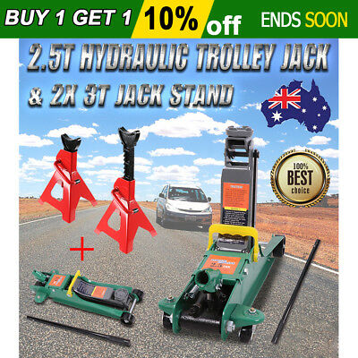 2.5 Ton Hydraulic Trolley Jack Low Lift Profile &2X 3T Adjustable Car Jack Stand