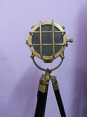 Antique Searchlight Nautical Floor Lamp With Classic Black Wooden Tripod Stand