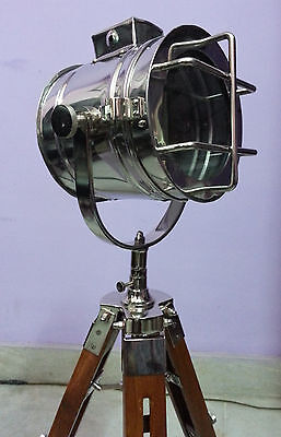 Hollywood Marine Table/ Floor Lamp With Wooden Tripod Stand Nautical Searchlight