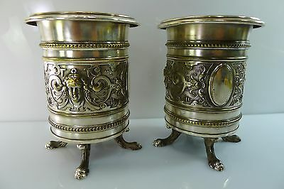Two Antique Wmf Vases Highly Detailed Raised Decoration Silver Plate On Brass