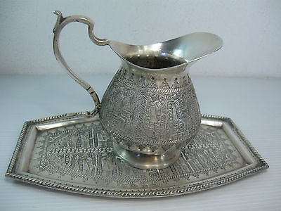A Hand Decorated Islamic Tray And Jug Hallmarked And Antique 84 Silver Stamped
