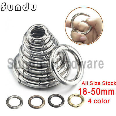 Wholesale Good Round Push Gate Snap Open Hook Spring Ring Key Carabiner Camping