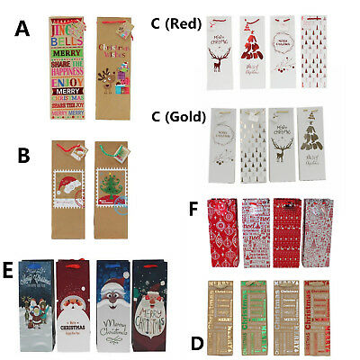 Set of 12 Christmas XMAS Wine Bottle Gift Bags Paper Carry Bags Gift Wrap Holder