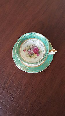 WAKO Gold & Emerald with Pink Roses Tea Cup and Saucer Fine China made in Japan