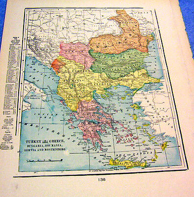 Antique Map Of Turkey In Greece  Nicely Colored & Historical  From 1899  Look!