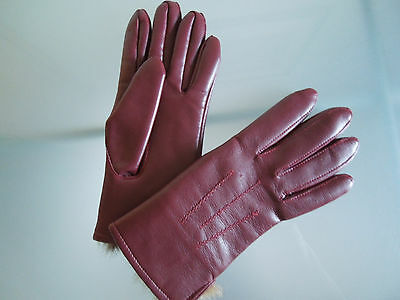 Vintage Women's Gloves ~ Littlewoods Burgundy Red with Rabbit Fur Lining ~ Small
