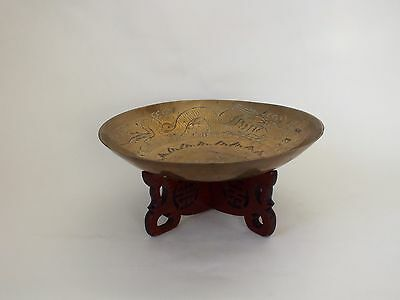 Vintage Brass Oriental Bowl With Wooden Stand Chinese Japanese