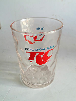 Royal Crown Cola Glass Rc Cola Red & Blue Logo Embosed Crown Rare Vtg Advertise