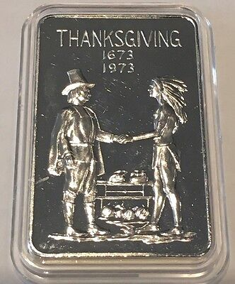 1973 Thanksgiving Collectible Bar 1 Troy Oz .999 Fine Silver The Double Mc Mint