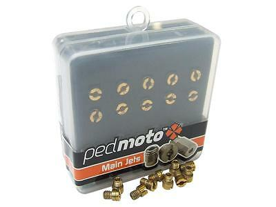 Pack of ten CVK carburettor 4mm main jets, sizes 100 to 122