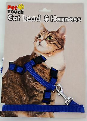 Blue - Cat Harness and lead - Walk/Kitten/Fun/Play/Gift/Accessory/Exercise!
