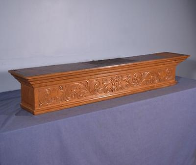 "*56"" Vintage French Renaissance Mantel/Pediment Oak Wood Crest Crown w/Figures 2"