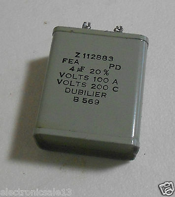 Dubilier Capacitor 4 Uf 20% Part No. Z112883