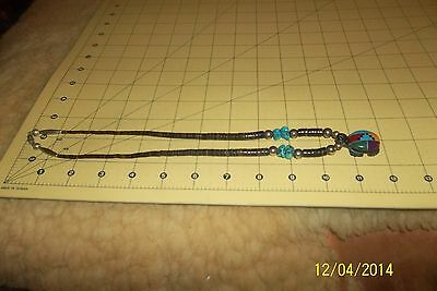 GORGEOUS NATIVE ZUNI CARVED mosaic TURQUOISE turtle clan FETISH HEISHI  NECKLACE