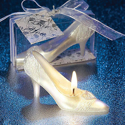 6 x Cinderella Shoe Candle Favour Fairytail Themed Wedding Gift & Favours