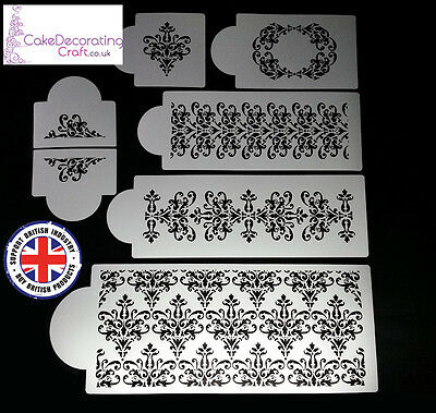 Stencils Cake Cupcake Decorating Craft Airbrush Buttercream| Delicate Damask x 7