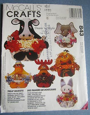 "Uncut McCall's 12"" High Critter Holiday Treat Baskets From 1993"