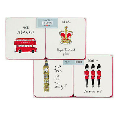 Alice Tait London Icon Coasters - Assorted Set  4 with felt backing White & Red