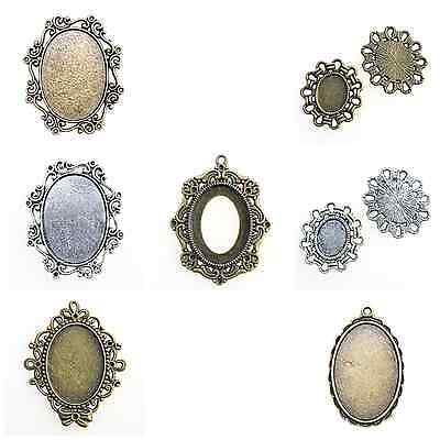 5 ANTIQUE SILVER or BRONZE OVAL CAMEO CABOCHON PENDANT SETTINGS assorted sizes