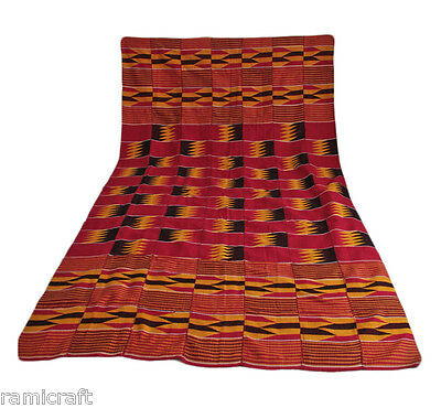 Kente Cloth Authentic Handwoven Traditional Ghana Large Cloth Maroon Gold SALE