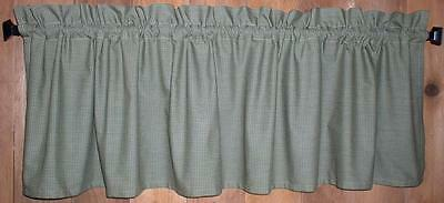 Green and Tan Mini Check Homespun Valances Tiers Primitive Country Curtains