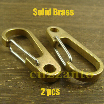 """2pcs 1.96"""" (50mm) brass Carabiner Spring Snap Hook Clip for keychain key ring"""