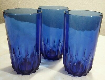 3 Luminarc France Cobalt Blue Tumbler Glasses