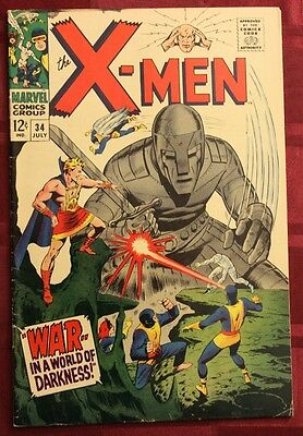 X-Men #34 Fine+ Moleman Tyrannus Appearances; Silver Age!!! (Marvel Comics 1967)