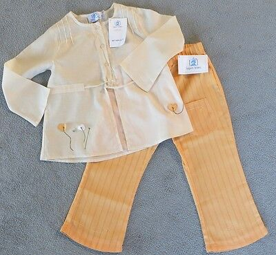 *BNWT* Lapin Bleu Girl's Trousers & Top Outfit Set Age 4 Yellow / Orange