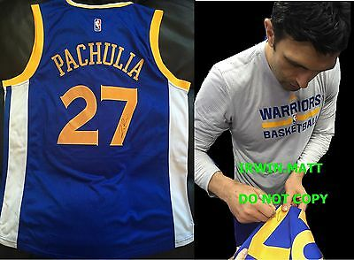 Zaza Pachulia Golden State Warriors Signed/ Autographed Blue Jersey Brand New