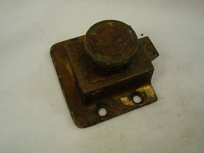 "Vintage Brass Cabinet Latch Cupboard Door Keeper Lock Twist Knob Open 2 1/4"" #M"